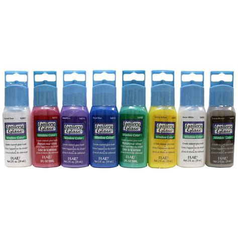 gallery glass 2 oz window color acrylic paint set 8 colors gg8set the home depot