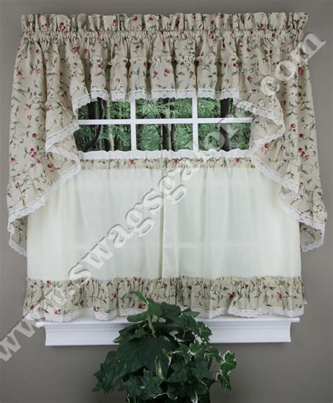 Country Kitchen Curtains And Valances Cherries Curtains Tiers Swags Valance Ellis Country Kitchen Curtains