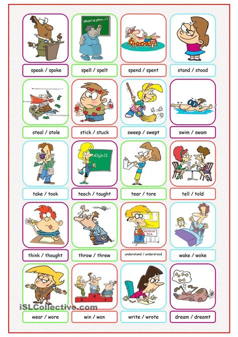 Simple Dictionary irregular verbs picture dictionary 2 resources