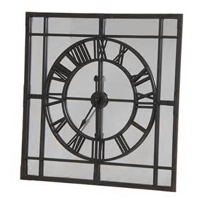 Garden Wall Art Uk - large square mirrored wall clock