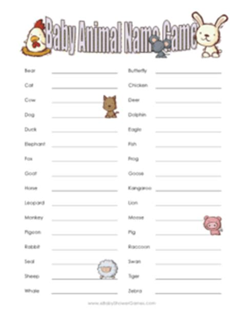 printable baby animal quiz printable baby animal name game ebabyshowergames com