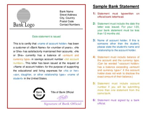 Bank Statement Letter For I20 Sle Bank Statement Template To Study In Usa
