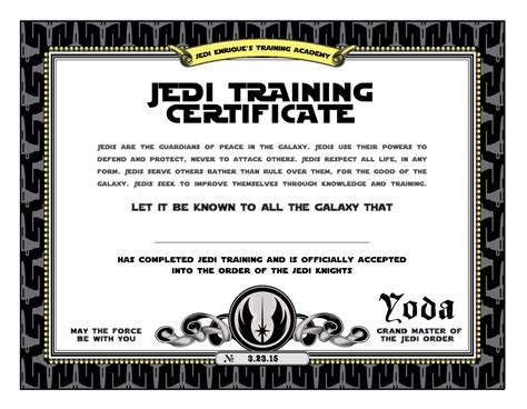 free printable star wars jedi certificates star wars birthday jedi training certificate printable