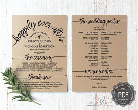 wedding program pdf card template instant download
