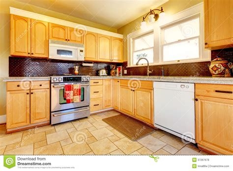 Paint Ideas For Kitchen Cabinets by Light Tones Wood Kitchen With Brick Backsplash Design Royalty Free Stock Photos Image 37267678