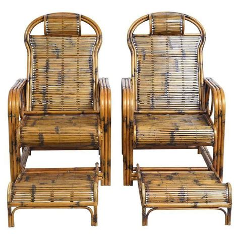 bamboo lounge chairs pair of bamboo lounge chairs with sliding foot rests