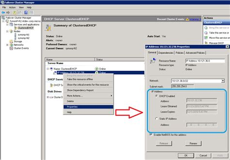 for dhcp changing clustered ip addresses configuring a dhcp or