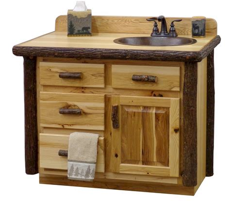 rustic natural hickory log vanity log bathroom cabinets