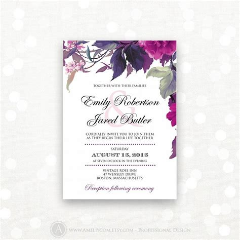 printable wedding invitations floral printable wedding invitation lilac purple weddings