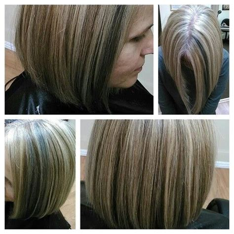 hair styles to cover the gray around the face 2 color blonde highlight on gray hair did not cover base