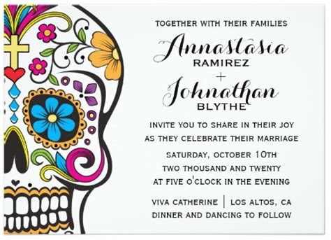Top 10 Colorful Day Of The Dead Wedding Invitations Multiculturally Wed Skull Invitation Templates