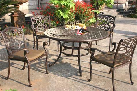 patio furniture santa patio furniture dining set cast aluminum 52 quot table 5pc santa