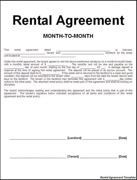 template of a lease agreement for a tenant efficient sle of month to month rental agreement