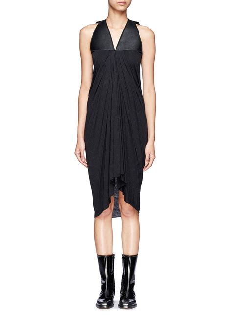 rick owens draped dress rick owens lilies leather panel draped front sleeveless