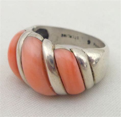 estate kabana sterling silver coral ribbed dome ring sz