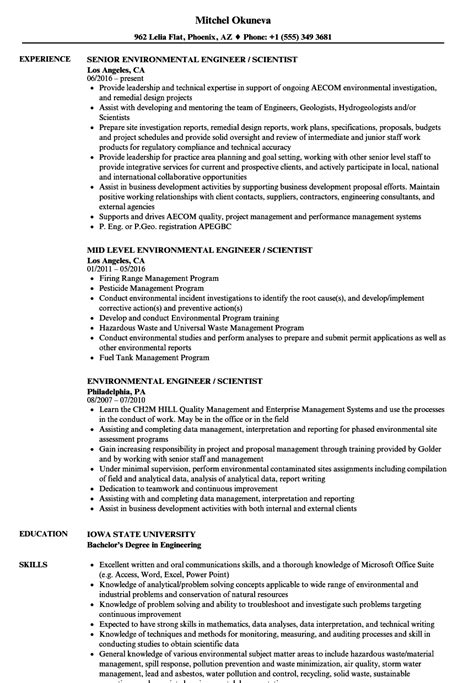 Environmental Engineer / Scientist Resume Samples   Velvet Jobs