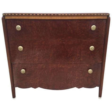Dresser Or Bureau by Deco Burled Inlaid Dresser Or Bureau For Sale