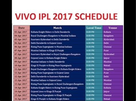 ipl 2017 list download indian premier league t20 ipl 10 2017 schedule fixtures
