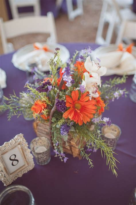 Your Wedding In Colors Rustic Orange And Purple Arabia Purple And Orange Centerpieces For Weddings