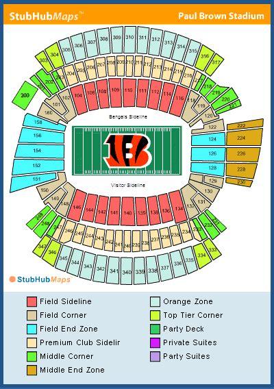 cincinnati bengals stadium seating paul brown stadium seating chart pictures directions
