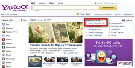 Yahoo Search Philippines Upcat Results 2011 Yahoo Search Philippines Top Trending Topic Techpinas