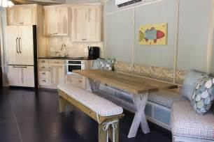 Wall Table For Kitchen Interior Floating Wooden Cabinet With Wooden Table Also Banquette Bench And Wall Decor For