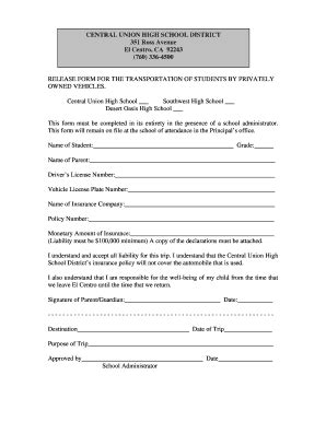 transportation release form template student transportation release form fillable printable
