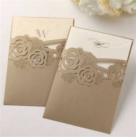 laser printed wedding invitations pearl gold laser cut custom wedding invitation 2260379 weddbook