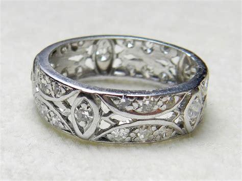 antique deco wedding band platinum eternity ring 87 ct platinum wedding