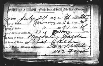Cuyahoga County Birth Records Cuyahoga County Birth Returns Oh Fold3