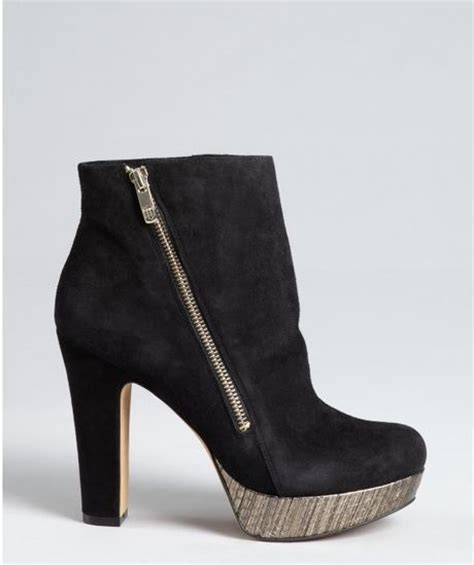 vince camuto black suede and golden black metallic