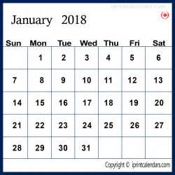 January 2018 Canadian Calendar Canada January 2018 Calendar Free Templates Tools