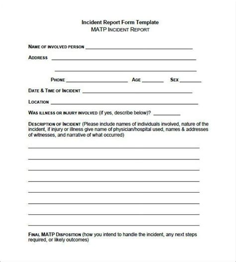 incident report forms templates incident report form template templatezet