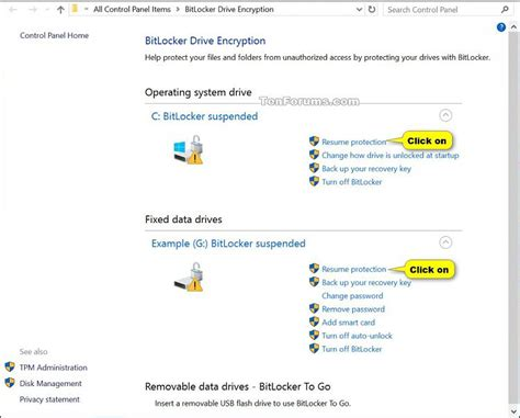 suspend or resume bitlocker protection for drive in windows 10 security system tutorials