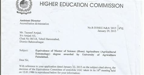 Hec Mba Equivalent To M Phil by M Sc Hons Agriculture Equivalent To M Phil Clarified By