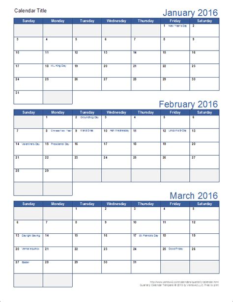 Download A Free Printable Quarterly Calendar Template For Excel With 3 Months Per Page Includes 3 Month Schedule Template