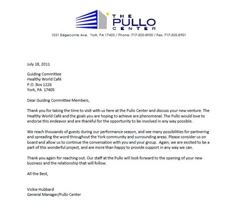 Thank You Letter Support Healthy World Cafe New Letter Of Support Thank You Pullo Center