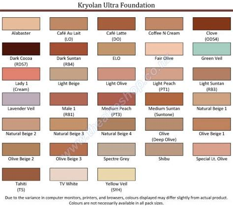 skin color hex code kryolan ultra foundation palette refils kryolan skin