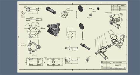 pattern 3d sketch inventor butterfly valve detail drawings autodesk inventor 3d