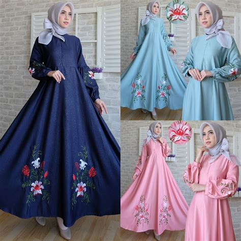 Bilbina Maxi Gamis Brukat Dress Bordir Pesta maxi dress baloteli bordir c039 gamis modern model terbaru