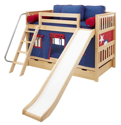 bunk beds with slide maxtrix low bunk bed w angled ladder and slide