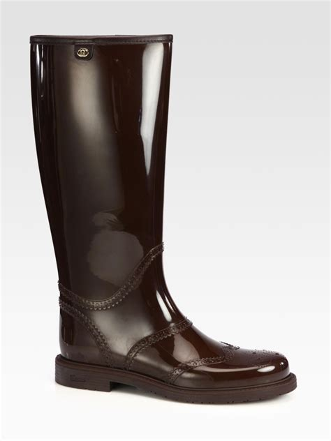 gucci aberdeen boots in brown lyst