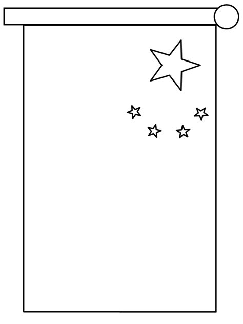 Coloring Page Template Printing China Flag Template