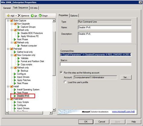disable ipv6 in windows 2008 r2 server deployment via mdt