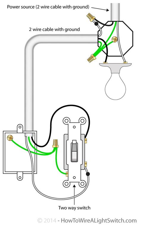 connecting a light switch 2 way switch with power source via light fixture how to