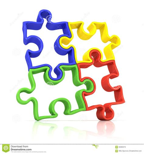 colorful puzzle pieces four colorful outlined jigsaw puzzle pieces banded stock