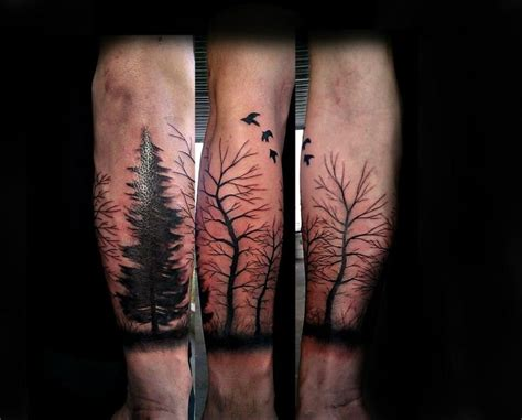 oregon tattoo free half sleeve trees done by aaron carey of ink