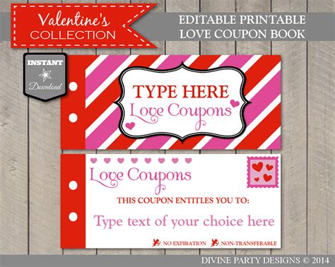 free custom printable love coupons sale instant download editable printable love coupon book