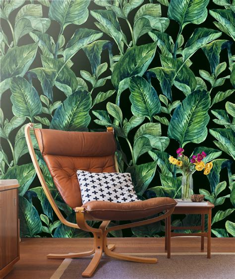 cloth wall murals tropical leaves wall mural self adhesive fabric wallpaper