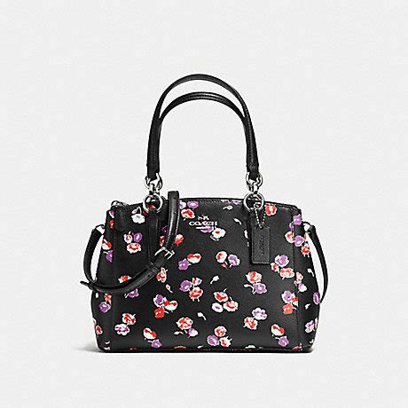 coach f37421 mini christie carryall in small wildflower print coated canvas silver black